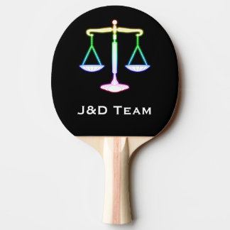 Law | Colorful Glowing Scales of Justice Ping Pong Paddle