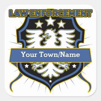 Law Enforcement Heraldry Crest Square Sticker