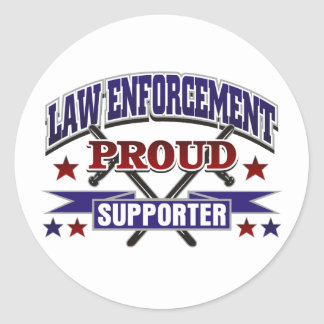 Law Enforcement Proud Supporter Classic Round Sticker