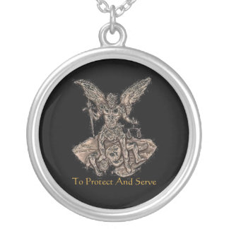 Law enforcement St. Michael Silver Plated Necklace