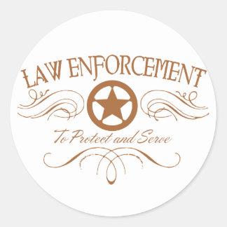 Law Enforcement Western Classic Round Sticker