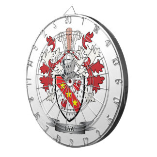 Law Family Crest Coat of Arms Dartboards