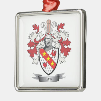 Law Family Crest Coat of Arms Silver-Colored Square Ornament