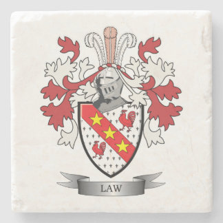 Law Family Crest Coat of Arms Stone Coaster