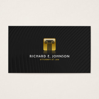 Law Firm Black & Flat Gold Justice Pillar Lawyer Business Card