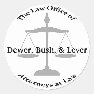 Law Firm Puns Round Sticker