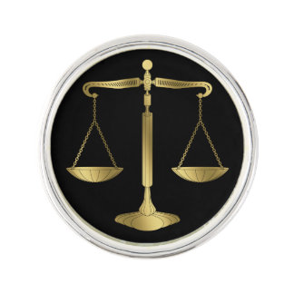 Law   Golden Scales of Justice Lapel Pin