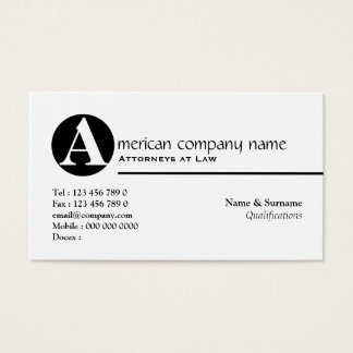 Law legal attorney monogram A Business Card