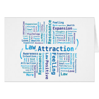 Law of Attraction Word Cloud in Blue Colors Card