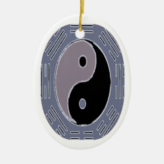 Law of Attraction - Yin Yang Ceramic Oval Ornament