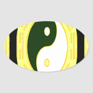 Law of Attraction - Yin Yang Oval Sticker
