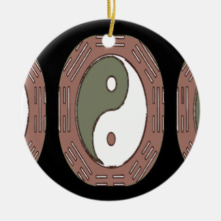 Law of Attraction - Ying Yang Round Ceramic Ornament