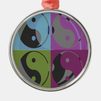 Law of Attraction - Ying Yang Silver-Colored Round Ornament