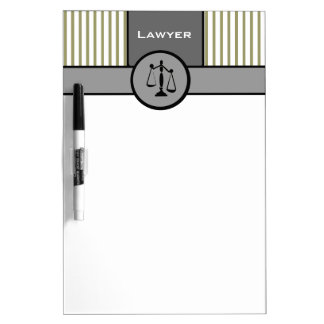 Law Office Attorney Elegant Pinstripes Gray Cream Dry Erase Board