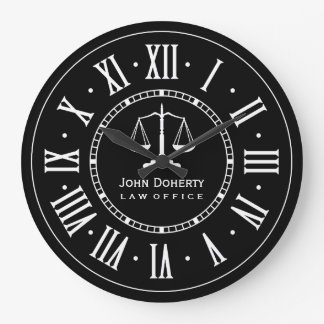 LAW OFFICE   Classic Black & White Large Clock