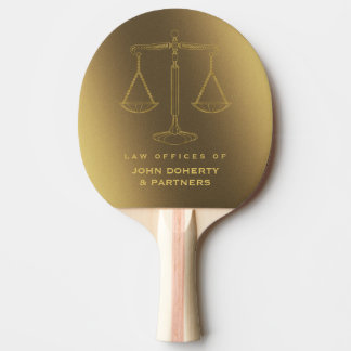 Law Office | Golden Scales of Justice Symbol Ping Pong Paddle
