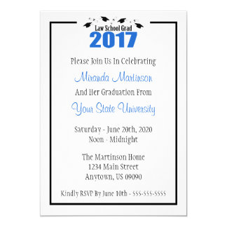 Law School 2017 Graduation Invite (Blue Caps)