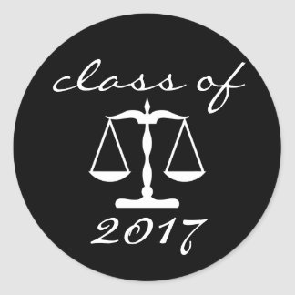 Law School Class Of 2017 (Black Scales Of Justice) Classic Round Sticker