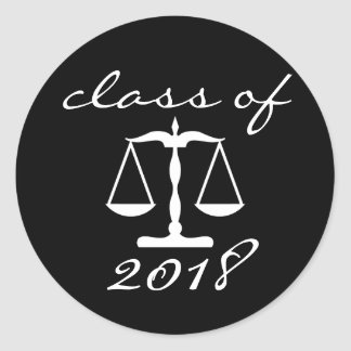 Law School Class Of 2018 (Black Scales Of Justice) Classic Round Sticker