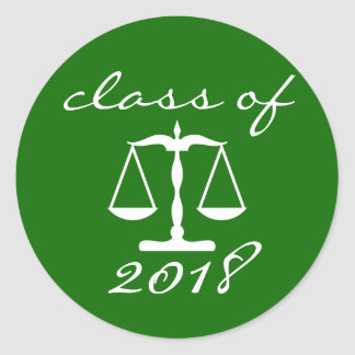 Law School Class Of 2018 (Green Scales Of Justice) Classic Round Sticker