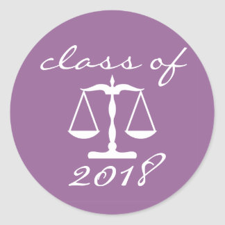Law School Class Of 2018(Purple Scales Of Justice) Classic Round Sticker
