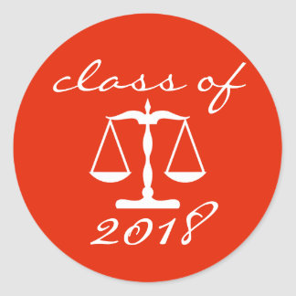 Law School Class Of 2018 (Red Scales Of Justice) Classic Round Sticker