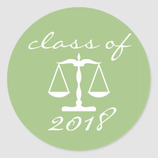 Law School Class Of 2018 (Sage Scales Of Justice) Classic Round Sticker