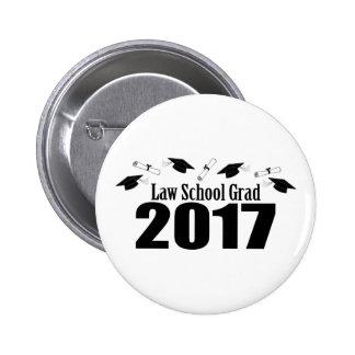 Law School Grad 2017 Caps And Diplomas (Black) 2 Inch Round Button