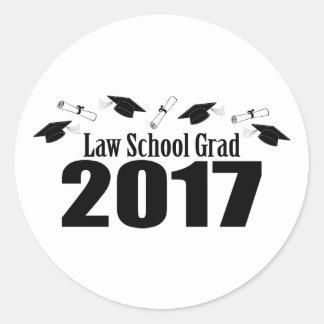 Law School Grad 2017 Caps And Diplomas (Black) Classic Round Sticker