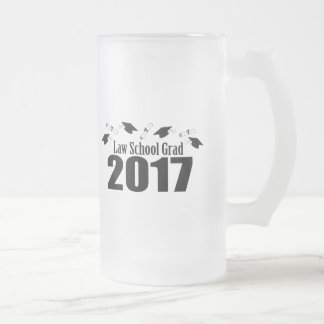 Law School Grad 2017 Caps And Diplomas (Black) Frosted Glass Beer Mug