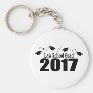 Law School Grad 2017 Caps And Diplomas (Black) Keychain
