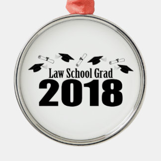 Law School Grad 2018 Caps And Diplomas (Black) Metal Ornament