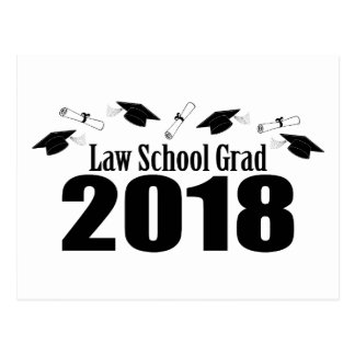 Law School Grad 2018 Caps And Diplomas (Black) Postcard