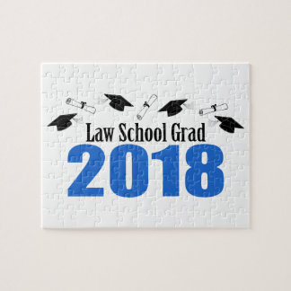 Law School Grad 2018 Caps And Diplomas (Blue) Jigsaw Puzzle