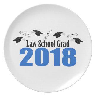 Law School Grad 2018 Caps And Diplomas (Blue) Plate