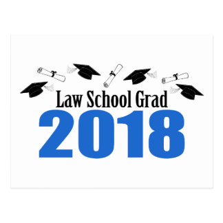 Law School Grad 2018 Caps And Diplomas (Blue) Postcard