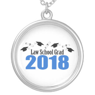 Law School Grad 2018 Caps And Diplomas (Blue) Silver Plated Necklace