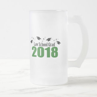 Law School Grad 2018 Caps And Diplomas (Green) Frosted Glass Beer Mug