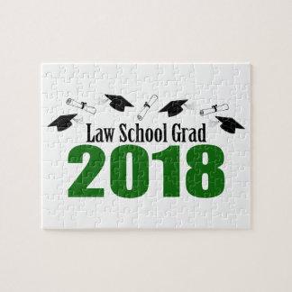 Law School Grad 2018 Caps And Diplomas (Green) Jigsaw Puzzle