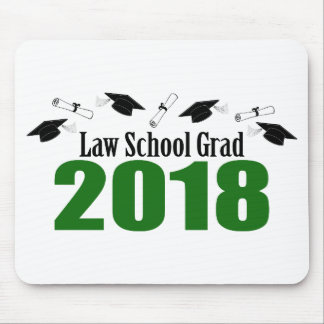 Law School Grad 2018 Caps And Diplomas (Green) Mouse Pad