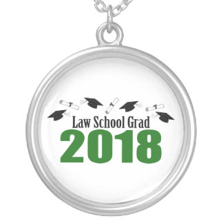 Law School Grad 2018 Caps And Diplomas (Green) Silver Plated Necklace