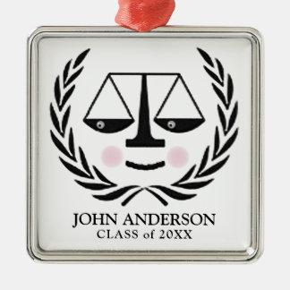 law school grad metal ornament