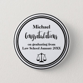 Law School Graduation Congratulations Button Pins