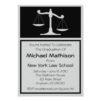 Law School Graduation Invite Black Justice Scales