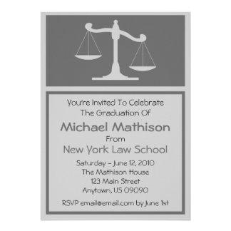 Law School Graduation Invite Gray Justice Scales