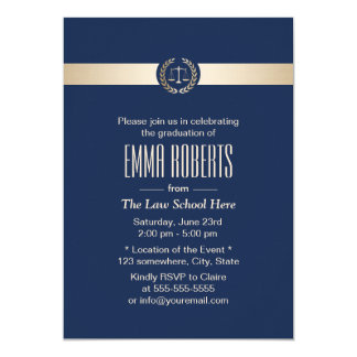 Law School Graduation Modern Navy Blue & Gold Card