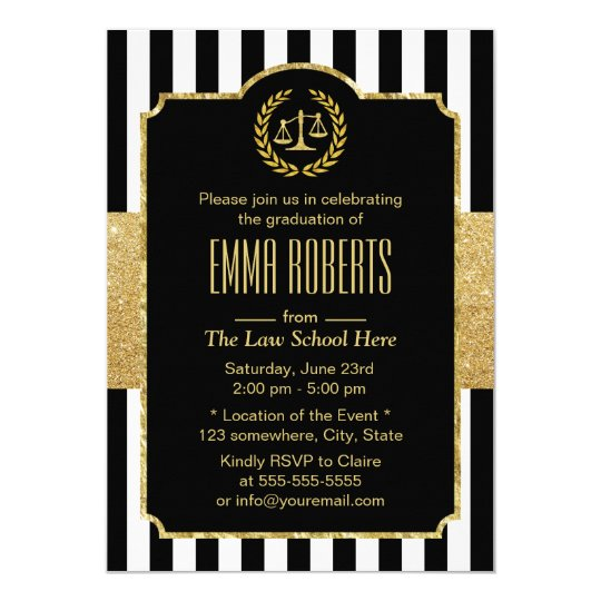Law School Graduation Modern Stripes Gold Lawyer Card