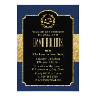Law School Graduation Navy Blue & Gold Lawyer Card