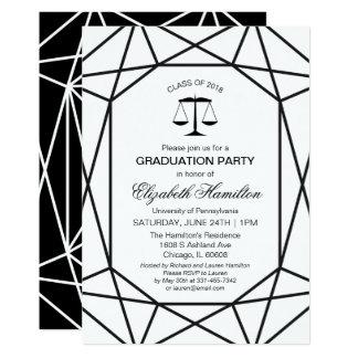 Law School Graduation Party Chic Black & White Card