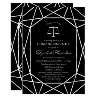Law School Graduation Party Foil Silver Geometric Card